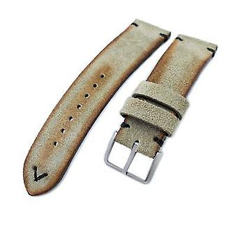 Strapcode leather watch strap 20mm, 21mm, 22mm miltat grey green genuine nubuck leather watch strap, black stitching, sandblasted buckle