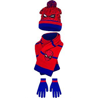 Marvel spiderman boys set hat scarf and gloves winter