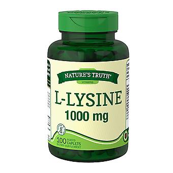 Nature's truth l-lysine, 1000 mgs, caplets revestidos, 100 ea