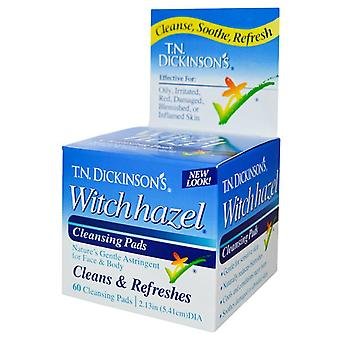 T.n. dickinson's witch hazel cleansing pads, 60 ea