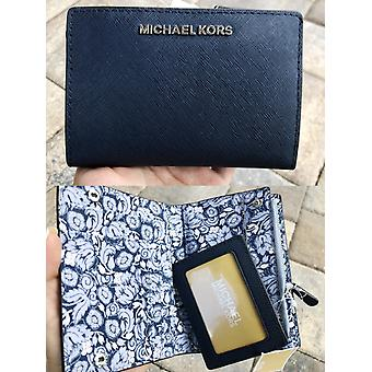 Michael kors medium card case carryall wallet navy pale blue floral