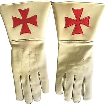Knight of malta buff color gauntlets red maltese cross soft leather gloves