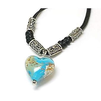 The Olivia Collection Light Blue Goldsand Lampwork Heart Pendant, 18