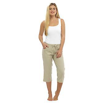 Mujer Color Sólido Lino 3/4 Longitud Pantalón Pantalones Piedra 10