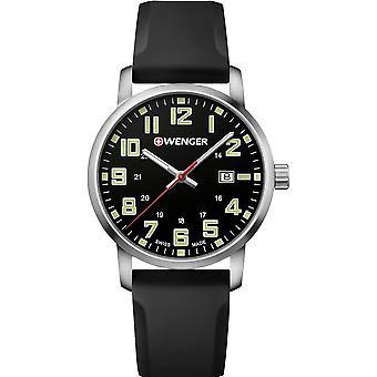 Wenger Avenue Quartz Black Dial Silicone Strap Men's Watch 01.1641.110