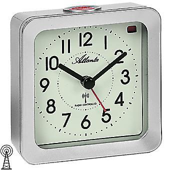Atlanta 1854/19 alarm clock radio alarm clock silver square with light Snooze