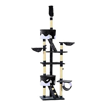 PawHut Floor to Ceiling Cat Tree Scratching Post Activity Centre Kitten Tree Scratch Scratcher Play Toy Climbing Tree Bed Multi Level 240-260cm Deep Grey