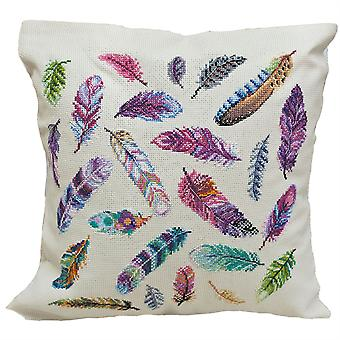 Abris Art Cushion Cover Cross Stitch Kit - Feathers