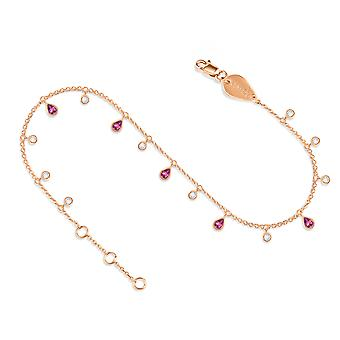 Anklet Glitter 18K Gold and Diamonds - Rose Gold, Pink Sapphire