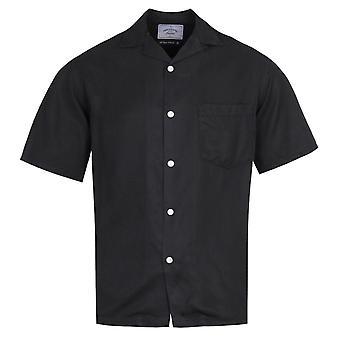 Portuguese Flannel Dogtown Cuban Collar Black Short Sleeve Shirt