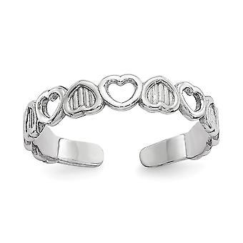 14k Ouro Branco Polido Amor Hearts Toe Ring Joias Para Mulheres - .6 Gramas
