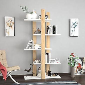 Denbi Color Oak Bookshelf, Biały w melamininie Chip 75x25.5x150 cm