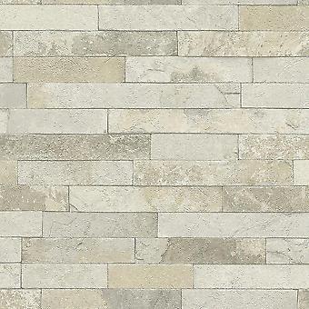 Rasch Factory Worn Brick Pattern Stone Effect Textured White Cream Wallpaper