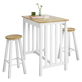 SoBuy FWT65-WN, Bar Set-Bar Mesa y 2 Stools, 3 Piezas Home Kitchen Breakfast Bar Set Muebles Set, Blanco y Natura