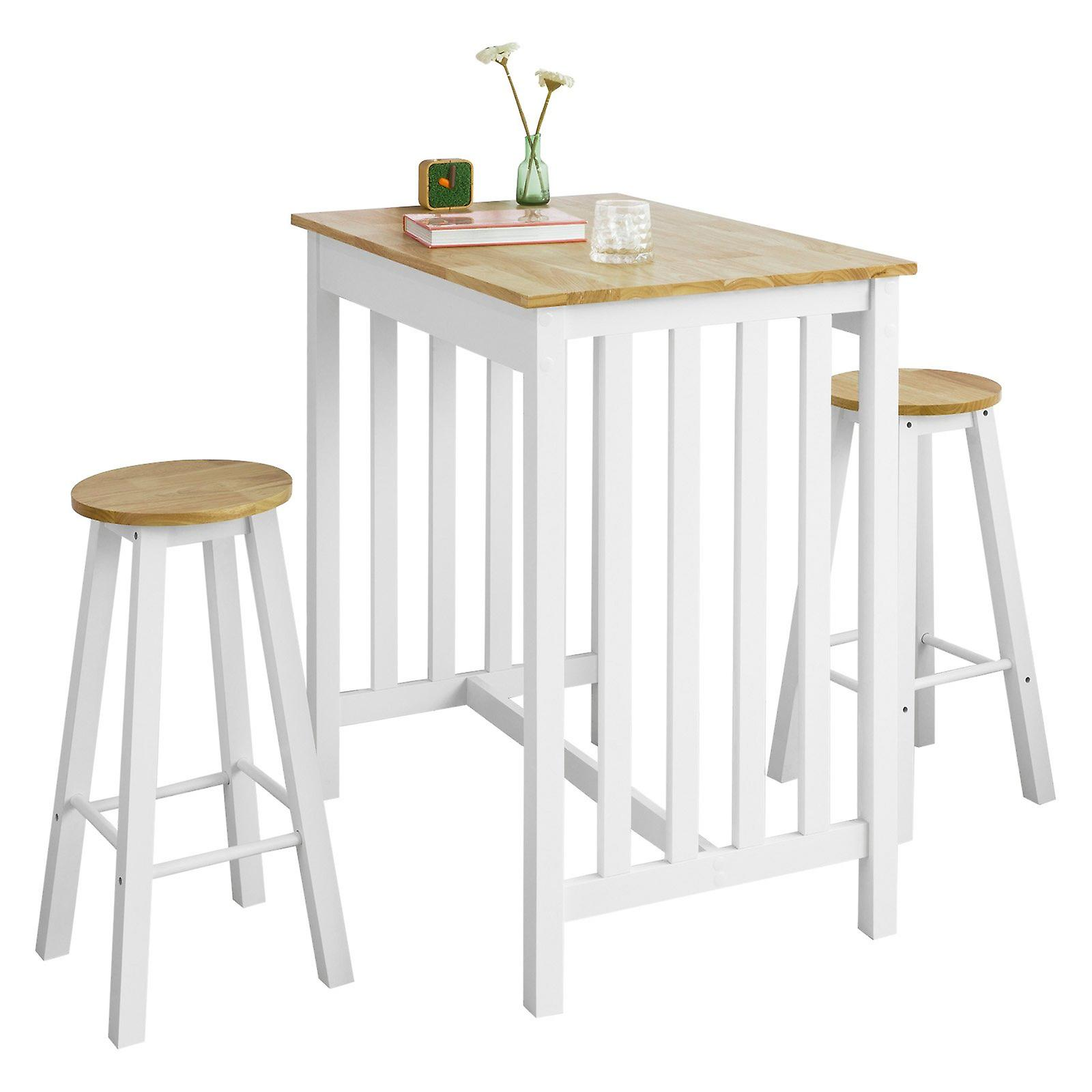 Sobuy Fwt65 Wn Bar Set Bar Table And 2 Stools 3 Pieces Home Kitchen Breakfast Bar Set Furniture Dining Set White Natura Fruugo Uk