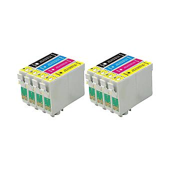 RudyTwos 2x Replacement for Epson Apple Ink Unit Black Cyan Magenta & Yellow Compatible with Stylus SX230, SX235W, SX420W, SX425W, SX430W, SX435W, SX438W, SX440W, SX445W, SX445WE, SX525WD, SX535WD, SX