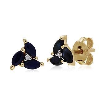 Floral Marquise Sapphire & Diamond Stud Earrings in 9ct Yellow Gold 135E1488019