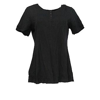 Denim & Co. Women's Top Essentials Round Neck Fit and Flare Black A307529