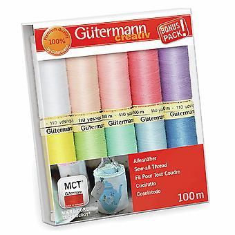 Gutermann Sy-alle 100% Polyester tråd 100m hånd og maskine - 10 Pastel hjul