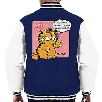 Garfield Actions Speak Louder Than Words Quote Men's Varsity Jacket