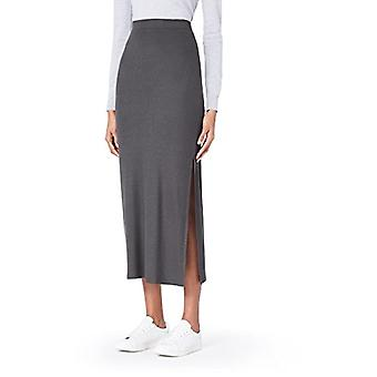 MERAKI Standard Women's Rib Maxi Skirt, (Grey Blackened Perl), EU M (US 8)
