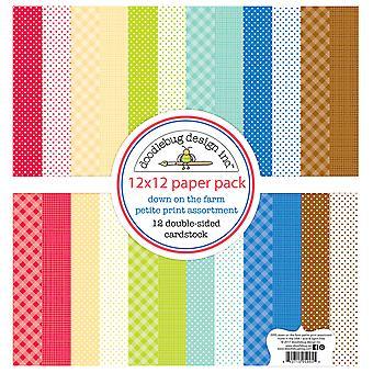 Doodlebug Design Down sur la batterie de serveurs 12x12 Inch Petite Papier Imprimé Pack