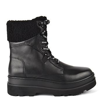Ash SIBERIA Shearling Boots Black Leather