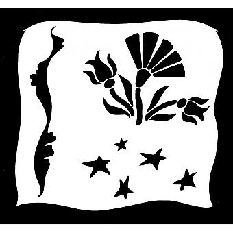 IndigoBlu Aitch's Flowers 6x6 Inch Stencil
