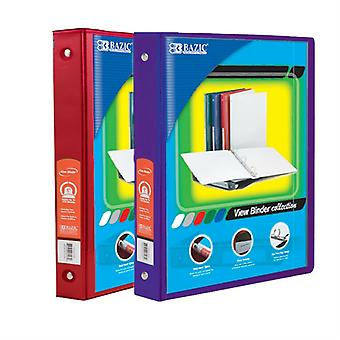 Combo51, BAZIC 1 Inch 3-Ring View Binder with 2-Pockets (Case pack of 24 consist 12-Red & 12-Purple)