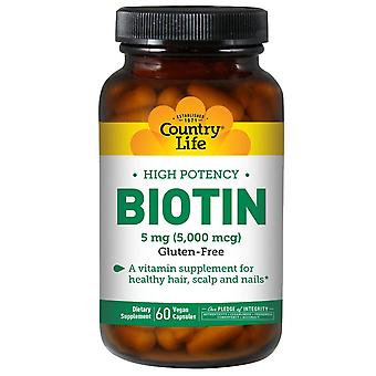 Country Life, High Potency Biotine, 5 mg, 60 Vegan Capsules