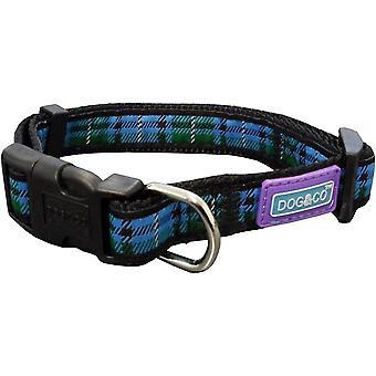 Dog & Co nylon verstelbare halsband - Tartan Blue - 19mm x 35- 46cm