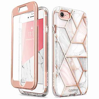 COSMO 360° Backcover Hoesje Met Screen Protector iPhone SE 2020 / 8 / 7 - Marble Wit