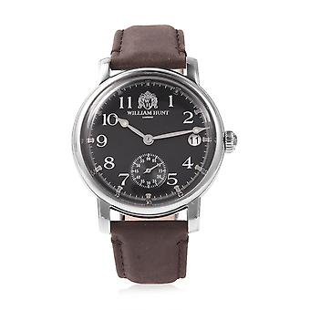WILLIAM HUNT Japanese Movement Water Resistance Watch Steel with Leather Strap