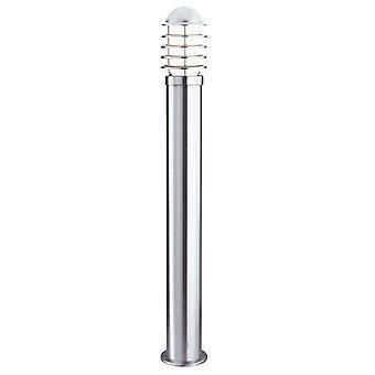Searchlight Louvre - 1 ljus utomhus pollare lätt rostfritt stål med polykarbonat diffusor IP44, E27