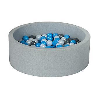 Poço de bola 90 cm com 150 bolas mãe de pérola, cinza e azul claro
