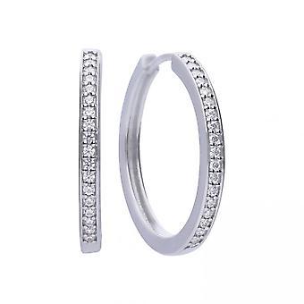 Diamonfire Silver White Zirconia Classical Creole Earrings E5605