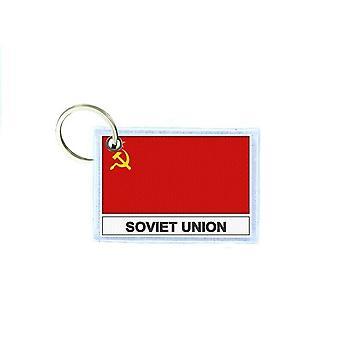 Porte cles cle clefs imprime double face drapeau SU urss russie