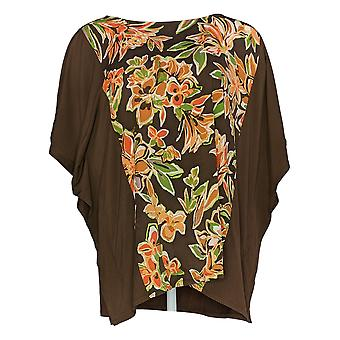 Bob Mackie mulheres ' s Top Painterly floral frente Caftan Brown A310930