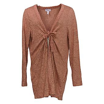 Anybody Women's Sweater Hacci Tie Front Cardigan Pink A349788