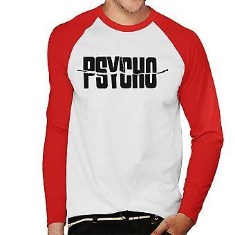 Psycho Black Text Logo Men''s Baseball Long Sleeved T-Shirt