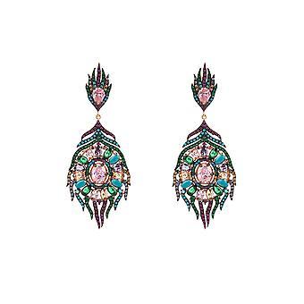 Latelita Statement Drop Earrings Peacock Colourful Rose Gold Dangle Wedding Bridal