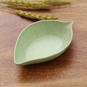 Ruokalehti muoto maustettu kastike lautanen käytetään sinappi, vehnäruoho, kastike