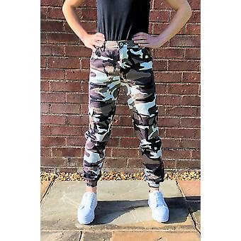 High Waist Cuffed Camouflage Cargo Pants Utility Trousers