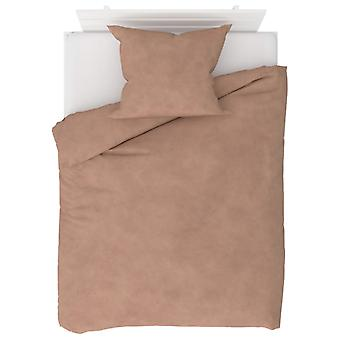 2-tlg. Bettwäsche-Set Fleece Beige 140 x 200 / 60 x 70 cm