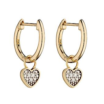 Elementen Gold Dames 9ct Yellow Gold Diamond Heart Shaped Charm Huggy Hoop Oorbellen