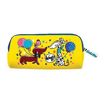Étui à crayons jaunes de chats et de chiens d'enfants