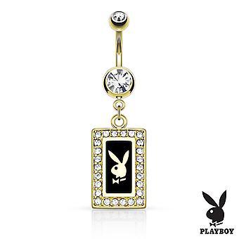 Anel de umbigo com moldura quadrada de coelhinho ip dourado com joias pavimentadas balançam 14g