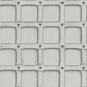 Industrial Retro Wood Geometric Grey Silver Wallpaper