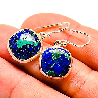 """Azurite Earrings 1 1/8"""" (925 Sterling Silver)  - Handmade Boho Vintage Jewelry EARR409135"""