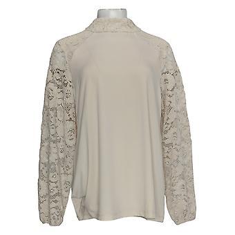 Susan Graver Women's Top Textured Liquid Knit Sleeve Detailed Ivory A381465